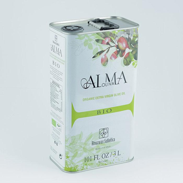 Aceite de oliva ecológico Almaoliva Bio lata 3l etiquetado