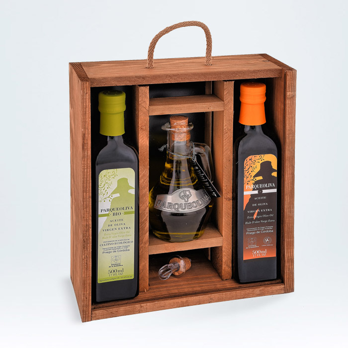 Estuche de madera para regalo aceite de oliva virgen extra ecológico